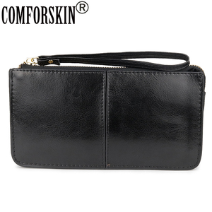 COMFORSKIN Brand Three Compartment Feminine Organizer Wallets European and American Large Capacity Women's Purses With Hand Rope(China)