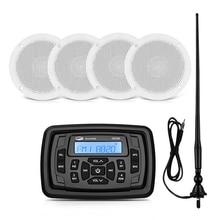 Marine Waterproof Radio Stereo Bluetooth Audio Receiver FM AM Car MP3 Player+2 Pairs 4 inch Marine Speakers+Boat Radio Antenna