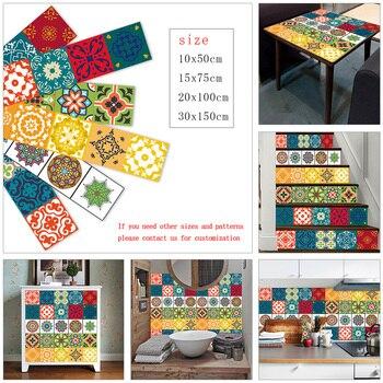 Tira de azulejos colorida de 10/15/20/30cm, pegatina para pared, decoración de cocina, baño, escaleras, papel tapiz, Mural artístico de cerámica Vinly impermeable