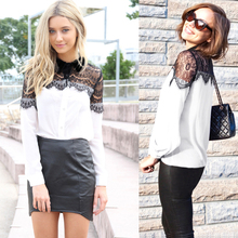 Blouses Black Tops Tunic-Shirts Lace Long-Sleeve Lightweight Chiffon Retro White Elegant