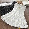 New Summer Girls Mini V Neck Short Sleeve Cotton Ruffle Bow 2021 White Black Star Pattern Western Style Princess Dress TZ0013