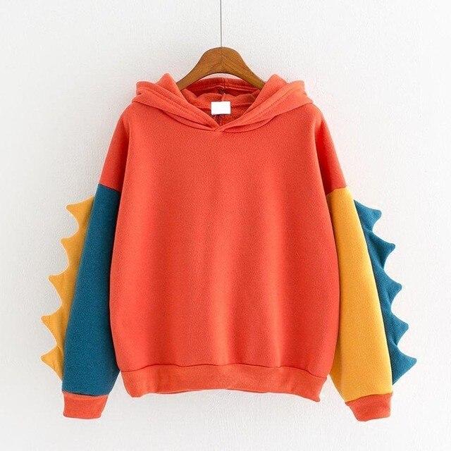 Hoodies Women Fashion Splice Dinosaur Print Sweatshirt Tops Casual Long Sleeve Harajuku Clothes ropa mujer толстовка женская 5