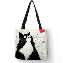 Индивидуальные милые женские сумки с принтом кота, льняные сумки-тоут с принтом логотипа, повседневные дорожные пляжные сумки