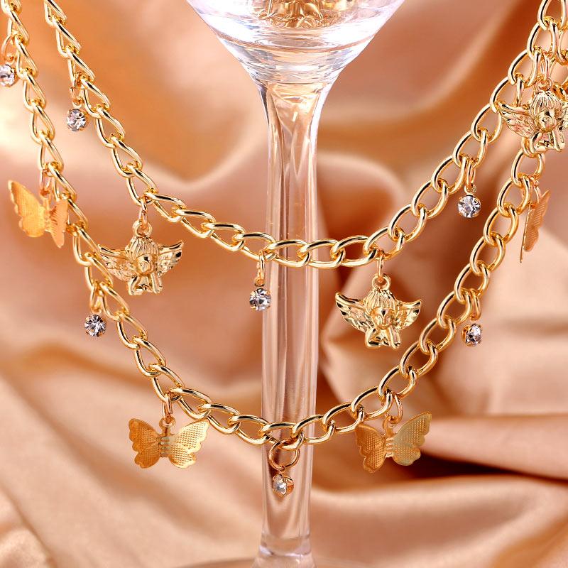 BYNOUCK pequeña mariposa colgante de Ángel collares para mujeres gran oferta de oro de Metal de Color de cadena de clavícula collares, joyas de accesorio
