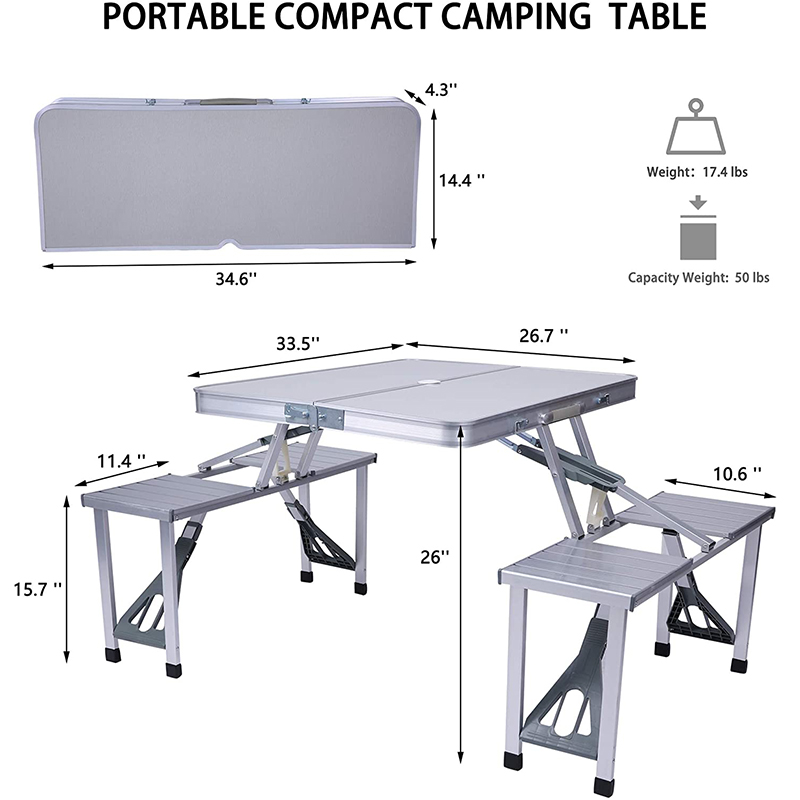Portable Folding Aluminum Suitcase Table Chair Set Camping Picnic Table with 4 Seats Umbrella Hole for