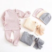 Ropa para bebé (niño o niña), conjuntos de ropa Lisa para recién nacido, Tops de manga larga + Pantalones, trajes informales, pijamas para bebé
