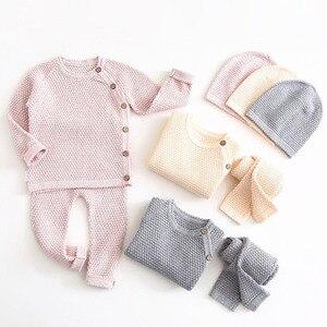 Conjuntos de roupas do bebê da menina do menino primavera outono sólido bebê recém-nascido roupas de manga longa topos + calças roupas casuais pijamas do bebê