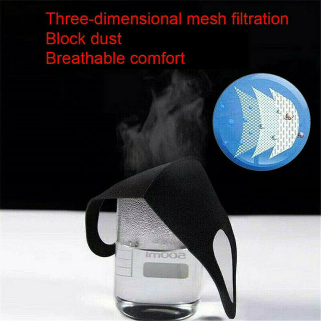 1Pcs Cotton PM2.5 Black Mouth Mask Anti dust Mask Activated Carbon Filter Windproof Mouth-muffle Bacteria proof Flu 5