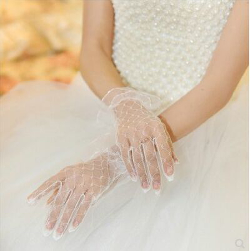 Fashion 1Pair Cheap Bridal Wedding Bud Silk Gauze Lace Short Customized Gloves For Women Wedding Accessories
