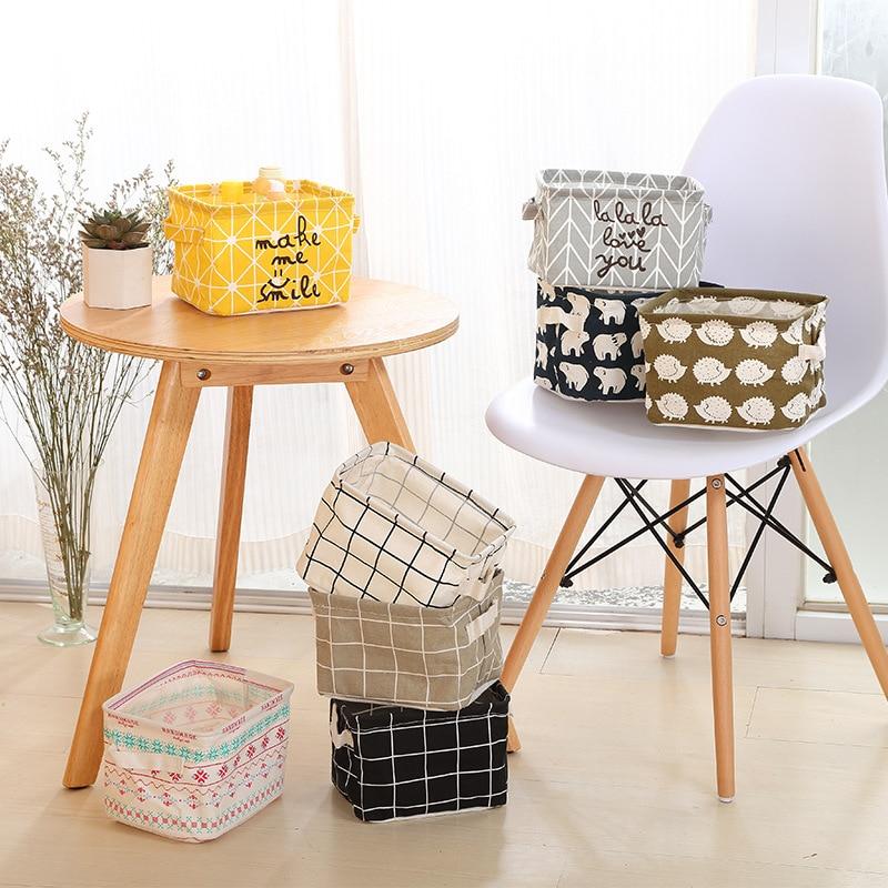 Office Desk Top Square With Handle Sundries Storage Box Needlework Fabric Storage Box Storage Basket Cosmetics Storage Box