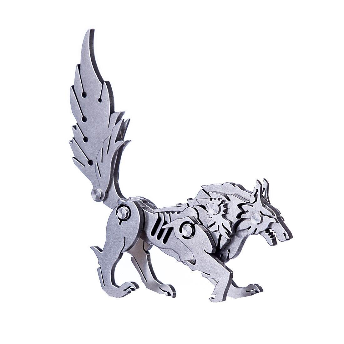 Diy montado modelo kit 3d de aço inoxidável montado destacável modelo quebra-cabeça ornamentos-lobo selvagem
