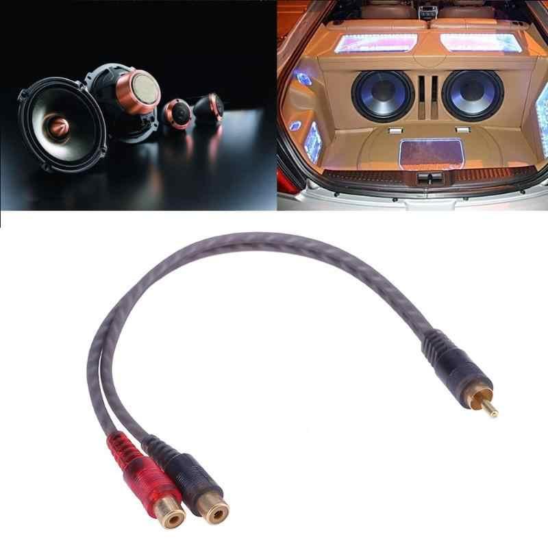 1pc 30cm 2 RCA זכר 1 RCA נקבה OFC ספליטר כבל עבור רכב אודיו מערכת