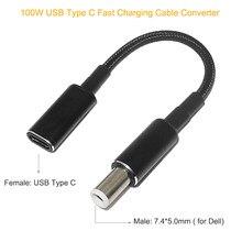 100w tipo c adaptador conversor USB-C pd cabo de cabo de carregamento rápido usb tipo c fêmea para 7.4*5.0mm plug para dell notebook carregador