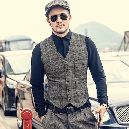 Men Autumn Winter New Retro Slim Casual Lattice Suit Vest Men's Waistcoat Brand European Style Plaid Vintage Business Vest M97-3