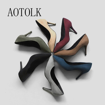 Women High Heels Female Shoes Pumps Solid Pointed Toe Wedding Spring Autumn Elegant Offical Ladies Plus Size - discount item  45% OFF Women's Shoes