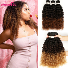 "WA...WONDERFUL Kinky Curly 12"" 22"" Brazilian Non Remy Hair Blonde/Brown Color Kinky Curly Bundles Brazilian Hair Weave Bundle"