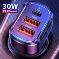USLION PD 30W USB Автомобильное зарядное устройство с 3 портами USB Type-C для быстрой зарядки для iPhone 12 Xiaomi Huawei Samsung мобильного телефона зарядное устрой...