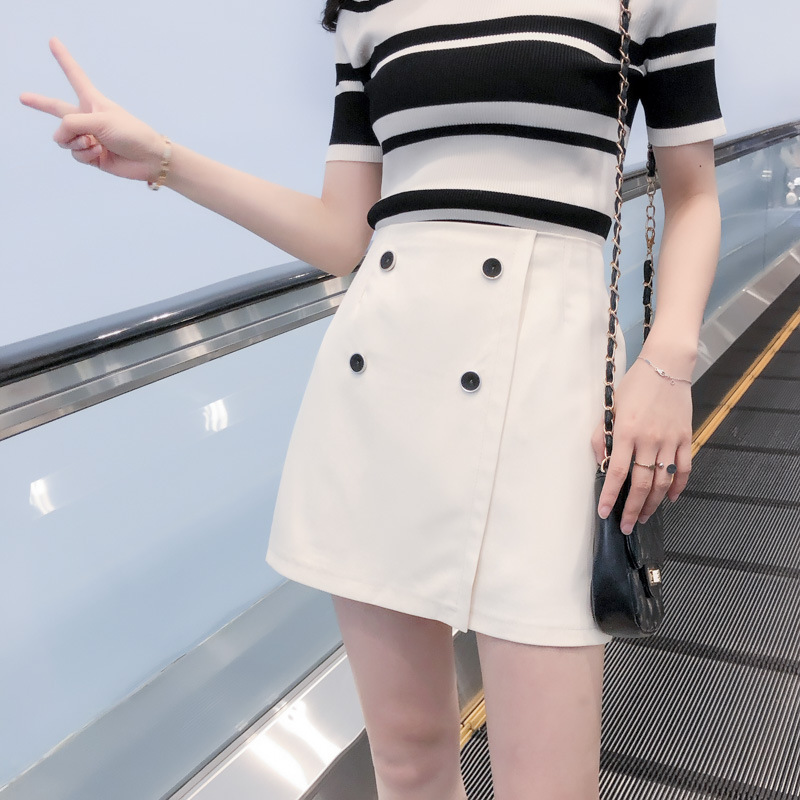 Photo Shoot Irregular INS Ultra-huo Gang Kong-Style A- Line Skirt Women's New Style High-waisted Short Skirt Versatile Buckle Sk