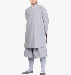 Image 2 - Conjunto de ropa lohan de algodón unisex, trajes de monje budista, robesartes marciales/uniformes de kung fu, ropa de budismo, color gris