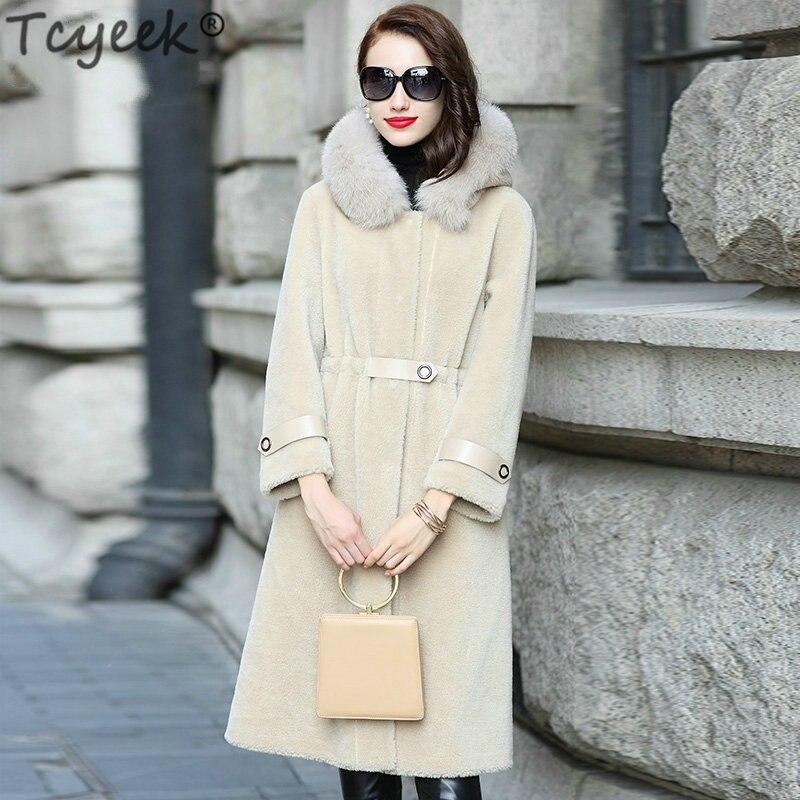 Winter Jacket Women Real Sheep Shearing Fur Coat Female Long Warm Parka Real Fox Fur Collar Hooded Spring Clothes LWL1372
