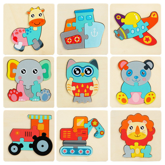 Kids Wooden Toys 3D Wood Puzzle Cartoon Animals Cognitive Jigsaw Puzzle Early Learning Educational Toys For Children Gift 2
