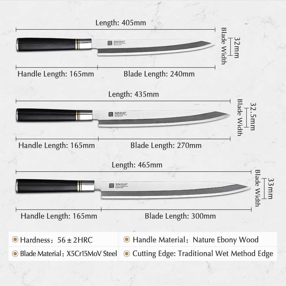 XINZUO 240/270/300mm Sfilettatura Lama con La Guaina X5Cr15MoV Coltelli Da Cucina In Acciaio Giapponese Sashimi Sushi Deba Coltello manico in ebano