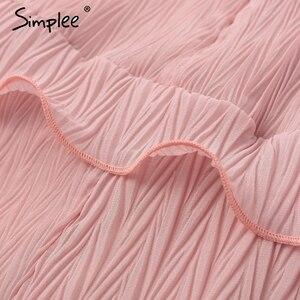 Image 5 - Женское летнее плиссированное платье Simplee, элегантное шифоновое платье с длинным рукавом, повседневное белое платье с v образным вырезом и оборками на лето, 2019