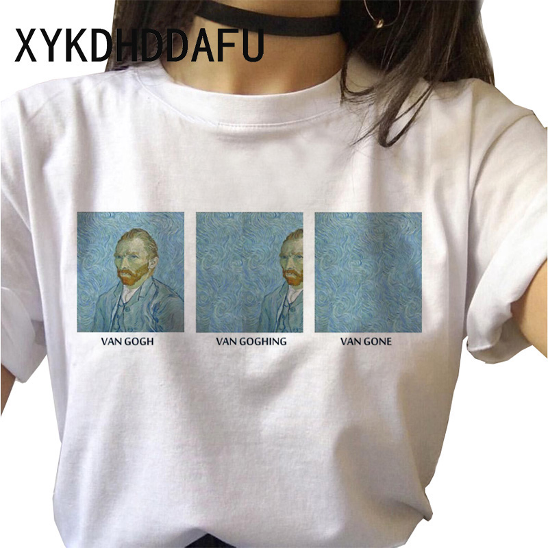 Van Gogh T Shirt Women New Fashion Art <font><b>Graphic</b></font> <font><b>Tshirt</b></font> Ulzzang <font><b>Aesthetic</b></font> Female Clothes Casual Grunge <font><b>Aesthetic</b></font> T-shirt Top Tee image