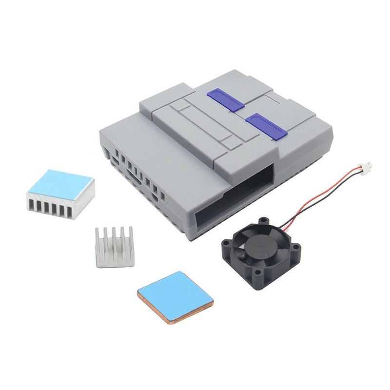 Nes Style Case Enclosure Snes Case Kit With Cooling Fan Heatsinks For Raspberry Pi 3 Model B Plus / 3 B / 2 B / Snespi