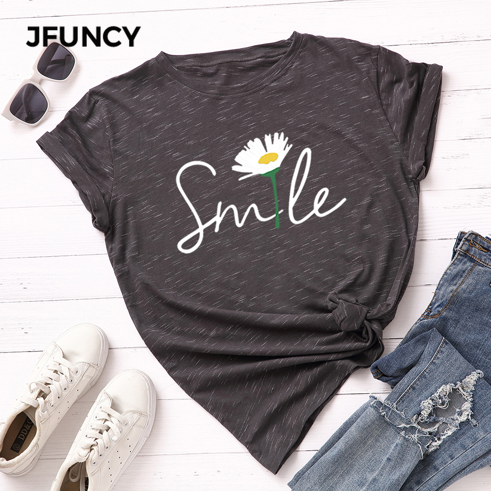 JFUNCY Plus Size S-5XL Women T-shirts Female Short Sleeve Tee Tops Smile Print Woman Casual Tshirt 2020 Summer Cotton T Shirt