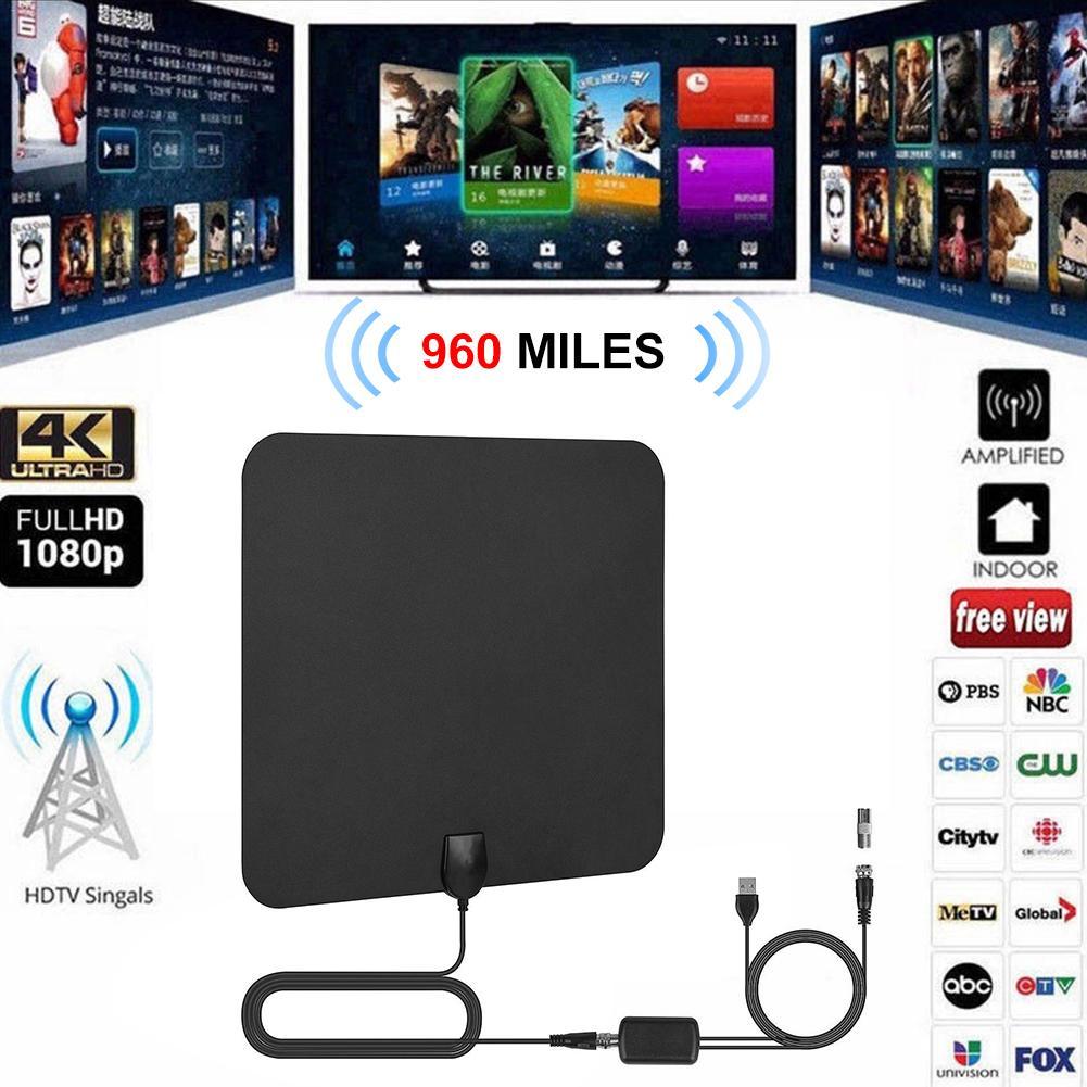960 Miles Antenna For Digital TV 25DB HDTV Antenna With 4K UHD Indoor Grid Satellite TV Aerial Mini HD Digital TV Antenna DVB-T2