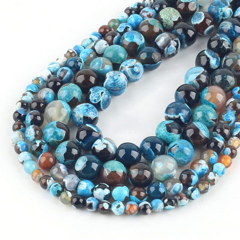 Natural Blue Fire Agates Stone Beads Round Loose Spacer Beads For Jewelry Making DIY Bracelets 15''Inches 6/8/10/12mm Beads Diy