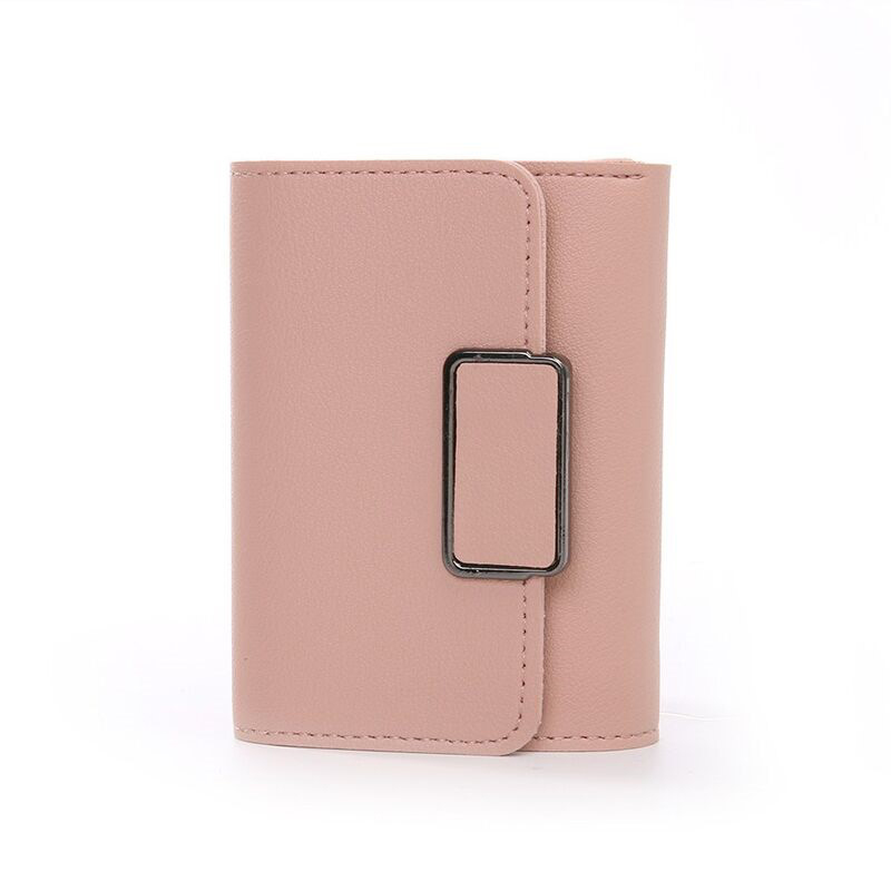 Fashion Solid Color Multi-card Position Simple PU Leather Women Casual Solid Wallet Card For Student