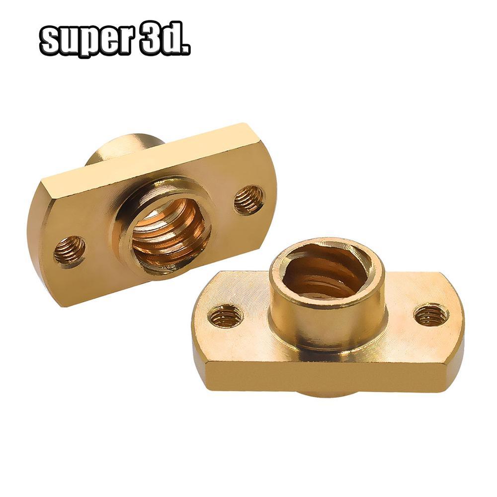 2pcs /lot T8 Lead Screw Nut Pitch 2mm Lead 8mm Brass T8x8mm Flange Lead Screw Nut For CNC Parts  3D Printer Accessories