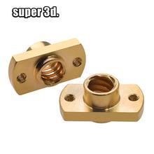 цена на 2pcs /lot T8 lead screw nut Pitch 2mm Lead 8mm Brass T8x8mm Flange Lead Screw Nut for CNC Parts  3D Printer Accessories