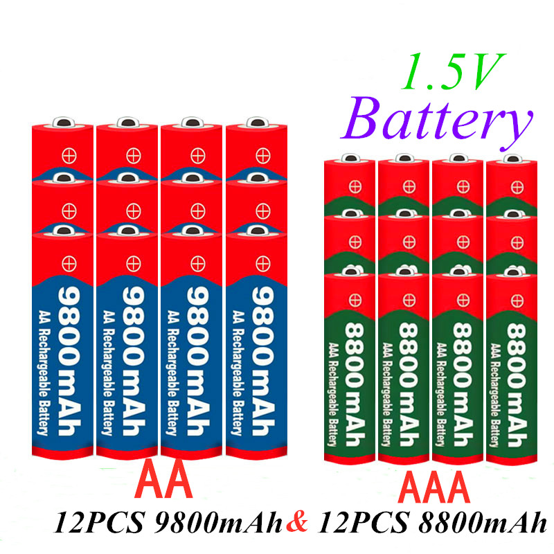 1.5V AAA 8800mAh Alkaline Rechargeable <font><b>battery</b></font> + AA <font><b>9800</b></font> mAh Alkaline <font><b>battery</b></font> for LED light toy clock MP3 player image
