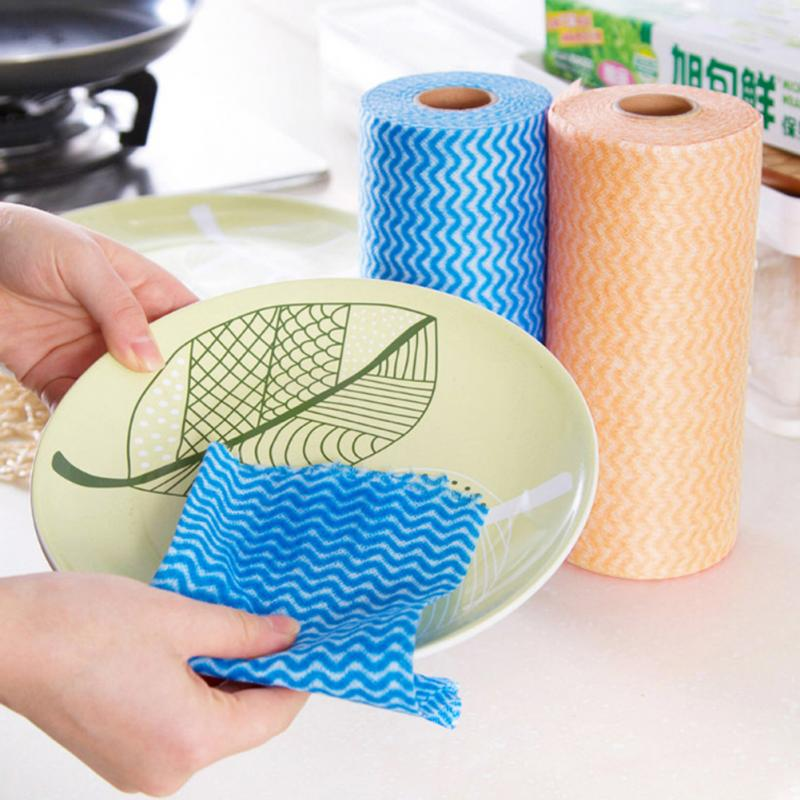 Hot 50pcs/roll Non-woven Fabric Kitchen Cleaning Cloth Multi-functional Disposable Dry/wet Non-stick Oil Wash Towel Dishcloth We Take Customers As Our Gods