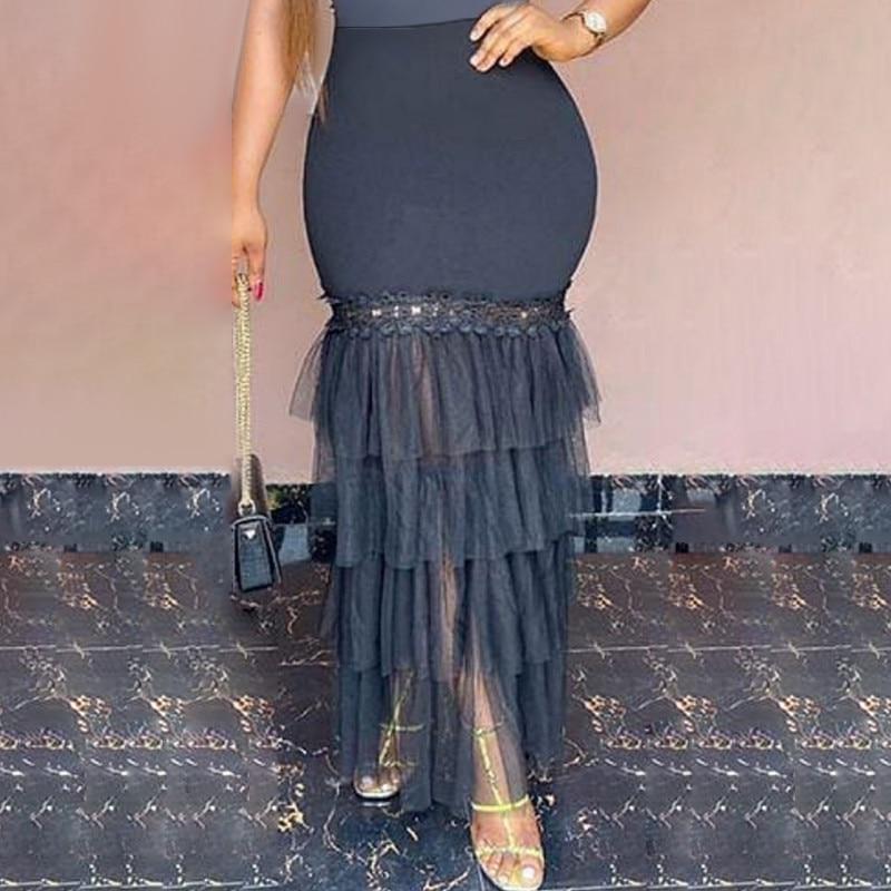 Women Long Tulle Skirt Mesh See Through Mesh High Waist Elastic Lace With Zipper Spring Summer Falda Elegant Female Fashion Saia