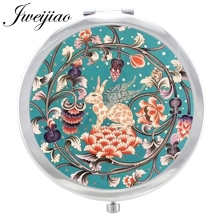 JWEIJIAO Vintage Folk ART Patterns Photos Accessories pocket mirror New Silver Plated Glass Dome Folding Compact espejos FL32