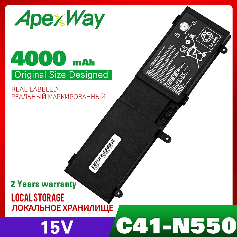 ApexWay  Laptop Battery For ASUS C41-N550 N550 N550X47JV N550J