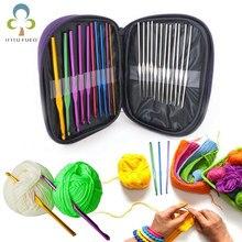 22 pçs/set mais novo colorido conjunto de malha de alumínio crochê ganchos agulhas de tricô conjunto 0.6mm-6.5mm punch caneta kit zxh