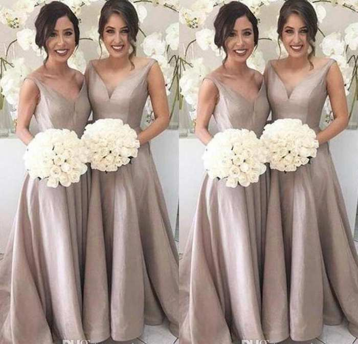 Simple Elegant Bridesmaid Dresses A Line Sleeveless V Neck Floor Length Sweep Train Garden Wedding Guest Party Gowns