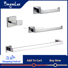 Bagnolux Stainless Steel 304 Bathroom Accessories Set Single Towel Bar Robe Hook Toilet Paper Holder Towel Ring Polished Finish