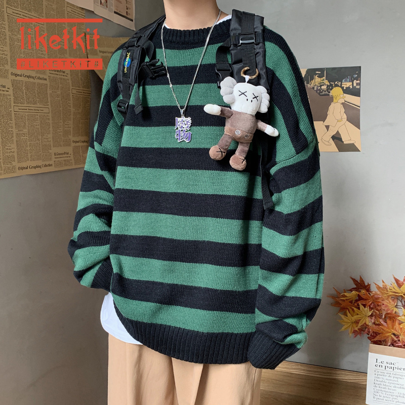 Liketkit Mens Casual O-Neck Knitted Sweater Spring 2020 Striped Korean Collage Pullover Male Oversized Fashion Colorful Sweater