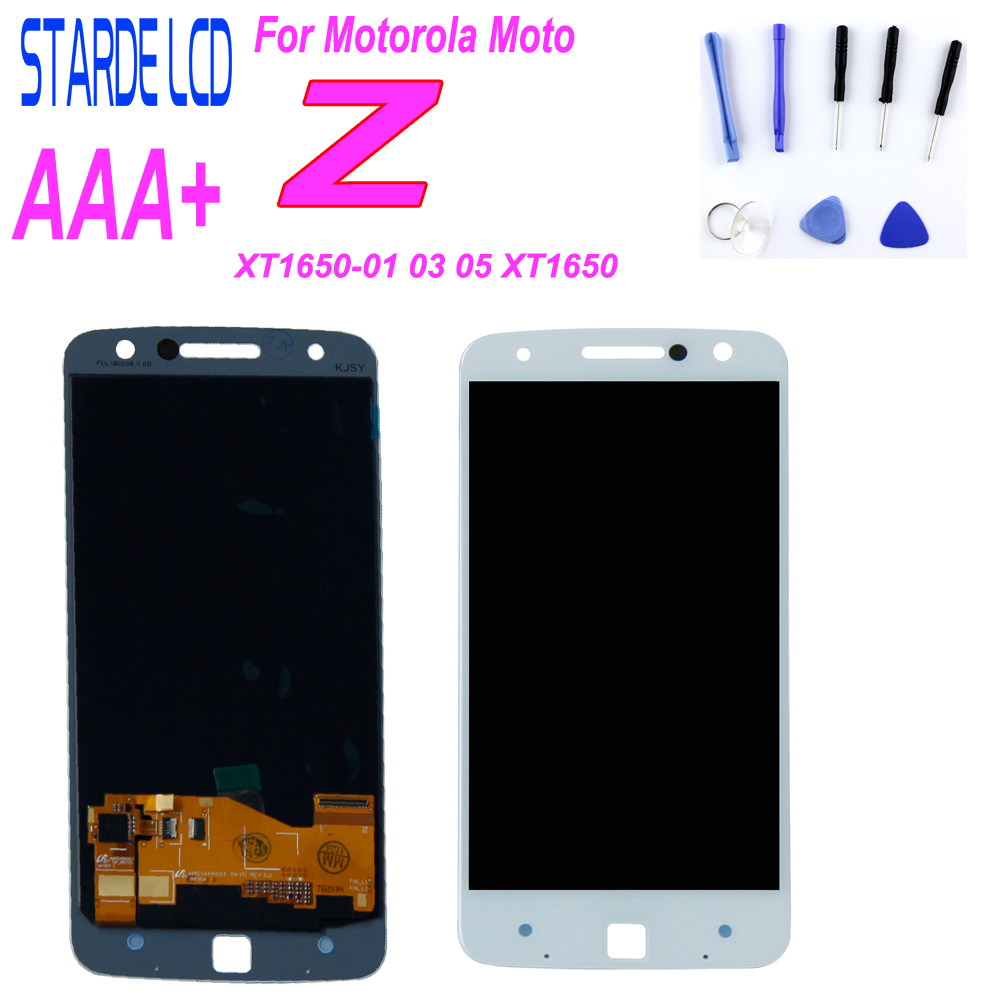 For Motorola Moto Z <font><b>XT1650</b></font> <font><b>LCD</b></font> For moto Z <font><b>XT1650</b></font> Display <font><b>LCD</b></font> Screen Touch Digitizer Assembly Black and White image
