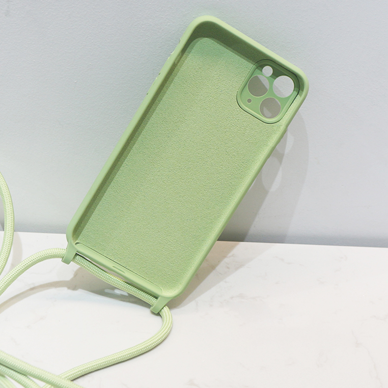 Crossbody Lanyard Liquid Silicone Case For iPhone 12 11 Pro Max XS X XR SE 2020 8 7 Plus Holder Neck Strap Cord Soft Color Cover 4