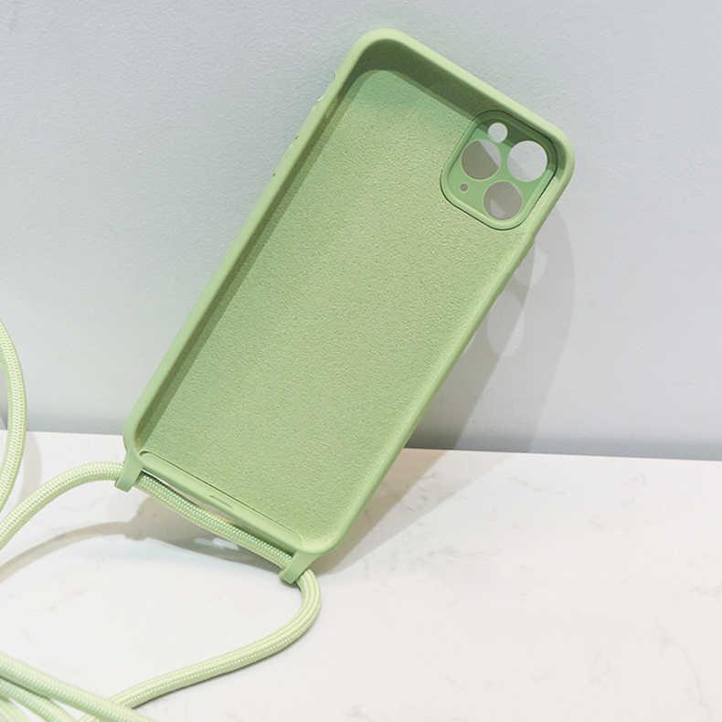 Oryginalne płynne silikonowe etui na iPhone 11 Pro XS Max X XR SE 2020 8 7 Plus 6 6S miękkie cukierki pokrywa + Crossbody smycz pasek na szyję