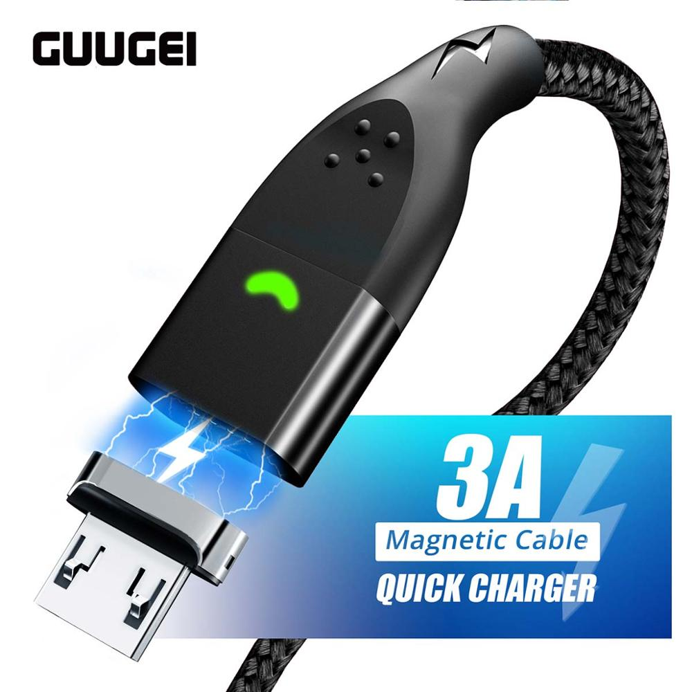 GUUGEI Fast charging Micro USB <font><b>Cable</b></font> Magnetic Data Cord Quick Charge For Moblie Phone Magnet LED USB Cord Microusb Charging Wire image