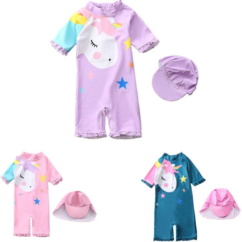 Girl'S One-piece Swimming Suit Long-sleeved Purple My Little Swimwear Baby Princess Babies'-CHILDREN'S Swimwear INS