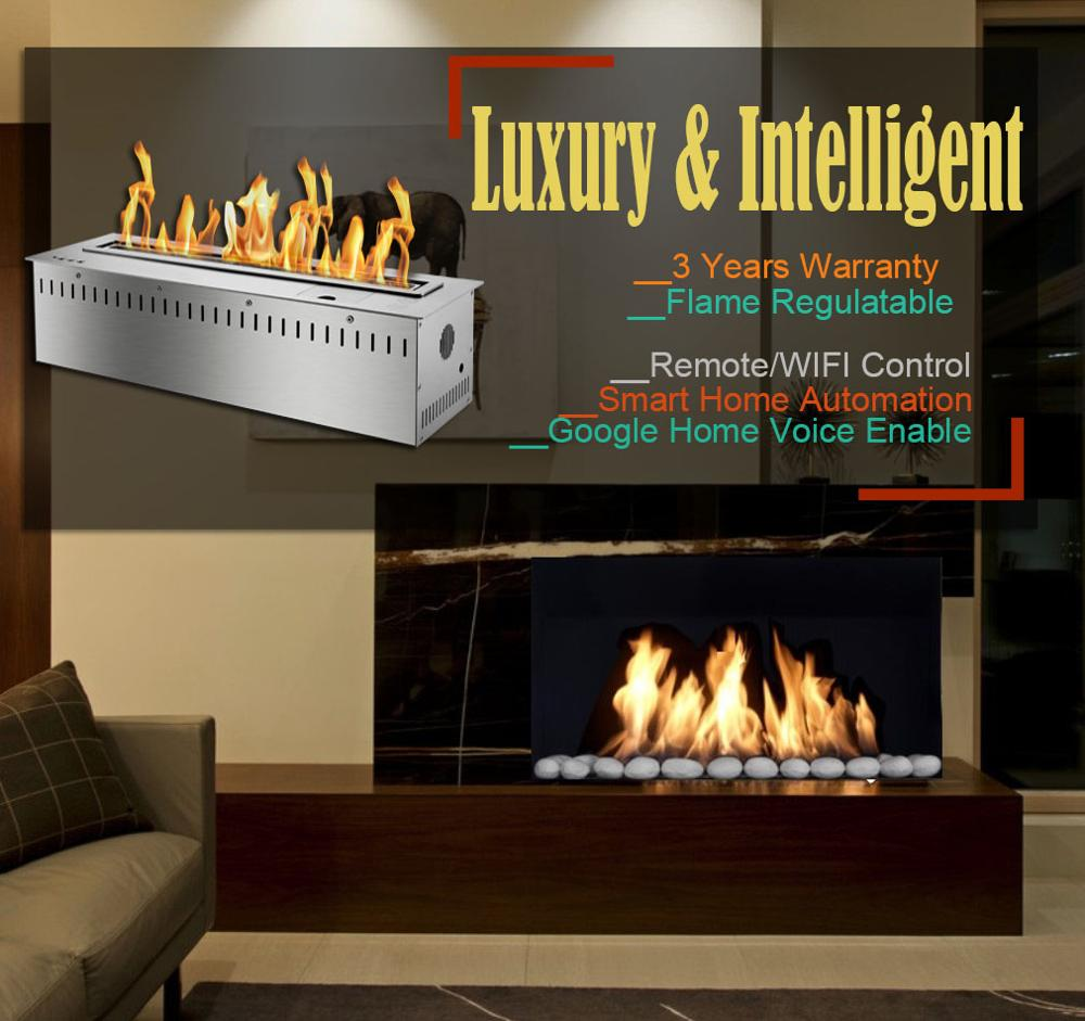 Hot Sale 18 Inches Stainless Steel Ethanol Fireplace Smart Burner With Remote Control Inserts